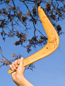 Boomerang in front of a night sky